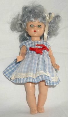"50s Vtg Virga Lollipop 8"" Hard Plastic Walker Doll W/ Blue Silver Hair"