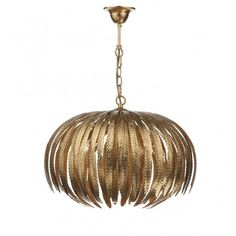 The Dar Atticus gold leaf pendant light features intricate hand crafted leaves which have been finished in hand-applied gold leaf. Supplied with of. Pendant Lighting Bedroom, Ceiling Pendant, Living Room Lighting Ceiling, Chandelier Bedroom, Glass Ceiling, Pendant Chandelier, Globe Pendant, Leaf Pendant, Light Pendant