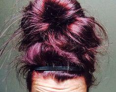 Burgundy hair, burgundy, red hair, purple hair, sloppy bun. Obsessed