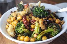 roasted cauliflower, broccoli, & sun dried tomato salad with chickpeas