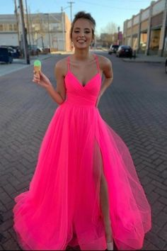 Modest Tulle V Neck Spaghetti Straps Pink Long Prom Dresses with STC15656, This dress could be custom made, there are no extra cost to do custom size and color Homecoming Dresses Long, Pretty Prom Dresses, Simple Prom Dress, Pink Prom Dresses, Tulle Prom Dress, Cheap Prom Dresses, Graduation Dresses, Party Dress, Special Dresses