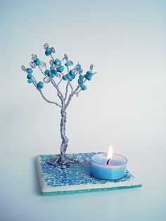 Wire Healing Tree Sculpture Candle Holder  Blue by wireforest, $29.00