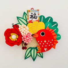 New Year's Crafts, Felt Crafts, Diy And Crafts, Arts And Crafts, Chinese New Year Decorations, New Years Decorations, Japanese New Year, Japanese Art, Felt Flowers