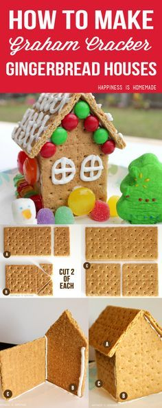 How to Make Graham Cracker Gingerbread Houses - Happiness is Homemade #PBandG #ad (christmas cookie icing ginger bread)