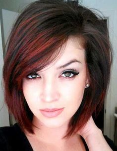 Image result for brown hair with red highlights shoulder length