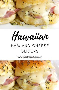 Hawaiian Ham and Swiss Sliders. Poppy seed, butter, dijon and Worcestershire Sauce. Ham And Cheese Sliders Hawaiian, Hawaiian Sandwiches, Ham Cheese Sliders, Ham And Swiss Sliders, Wrap Sandwiches, Poppy Seed Ham Sandwiches, Poppy Seed Sliders, Hawaiian Snacks, Recipes