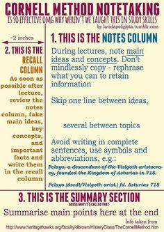 Cornell Notes - for lecture, for text reading Learning Tips, Teaching Strategies, Teaching Tools, Teaching Resources, Instructional Strategies, Teaching Activities, Avid Strategies, Teaching Economics, Teaching Study Skills