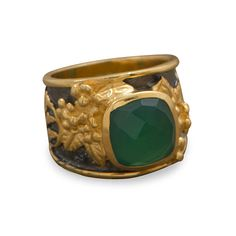 Gunmetal and 14 karat gold plated sterling silver ring with 11mm soft square green onyx. The band graduates from 16mm down to 10mm in the back. This ring is available in whole sizes 5-9.