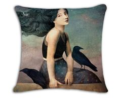 European And American Vintage Painting Cotton Linen Sofa Throw Pillow Office Chair Seat Cushion For Home Decor Gifts Pink Throw Pillows, Linen Pillows, Linen Sofa, Sofa Cushion Covers, Cushions On Sofa, Bohemian Tapestry, Decorative Pillow Covers, Home Textile, Crow