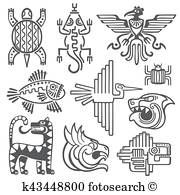 Illustration of Historic aztec, inca vector symbols, mayan temple pattern, native american culture signs. Tattoo ancient tribes in form of abstract animals illustration vector art, clipart and stock vectors. Aztec Symbols, Celtic Symbols, Ancient Symbols, Egyptian Symbols, Cool Symbols, Ancient Art, Maya Tempel, Inka Tattoo, Motifs Aztèques