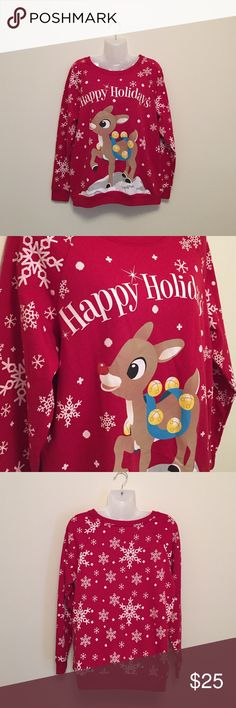 RUDOLPH sweatshirt ❤️😍🎅🏼 NWOT. 60% cotton 40% polyester. Perfect for the holidays. Rudolph the Red Nose Reindeer Sweaters