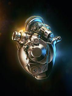 cyborg heart render  Acura Heart by Aleksandr Kuskov. (via ArtStation - Acura Heart, Aleksandr Kuskov)