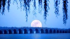 Moonrise seventeen China bing wallpaper | Moonrise over Seventeen Arch Bridge on Kunming Lake at the Summer ...