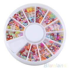 HotOver 500pcs Wheel Mixed Nail Art Tips Glitters Rhinestones Slice Decoration Manicure Nail tools sticker 031H 2SZF 7D31