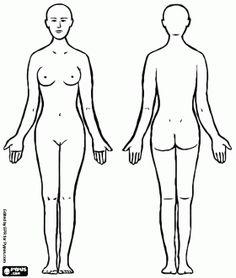 De vrouw. Vrouwelijke menselijk lichaam, voor en achterkant kleurplaat