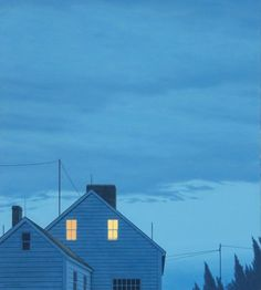 """""""Twilight"""" by Quint Buchholz Nocturne, Houses In Germany, Beautiful Sketches, Good Night Moon, Through The Window, Night City, Ciel, House Painting, Cute Wallpapers"""