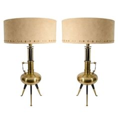 Mid Century Pair of Tripod Table Lamps w/Custom Suede Shades