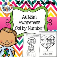 Included in this pack are 6 different pages of color by number worksheets linked to Autism Awareness. It comes in spelling options for US and…