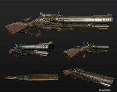 ArtStation - Classic firearms, luo zhenhuai Anime Weapons, Sci Fi Weapons, Weapon Concept Art, Weapons Guns, Fantasy Weapons, Arma Steampunk, Steampunk Weapons, Arsenal, Crossbow Hunting