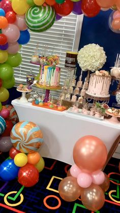 #desserttable #candyland #rosegoldparty #doublebirthdayparty #sweeteyecandydesigns Balloon Decorations, Birthday Decorations, Baby Shower Decorations, 41st Birthday, Sweet 16 Birthday, Baby Shower Fun, Baby Shower Balloons, Luau Theme Party, Happy Birthday Cake Images