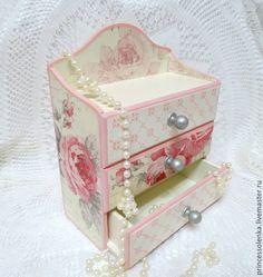 «Розовая дымка» Мини-комод для украшений - бледно-розовый,кремовый цвет