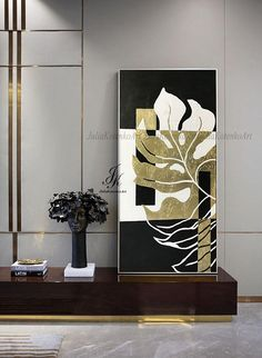 Large Abstract Oil Painting Gold Leaf Art Texture Modern Art