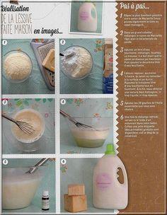 Economique, écologique voici la recette pour faire soi-même sa lessive. Ingrédients : 80 grammes de savon de Marseille en bloc ou en paillette + 4 C à soupe de bicabonate de soude + 20 gouttes d'huile essentielle de Tea Tree + 20 gouttes d'huile essentielle...