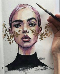 Flower art painting draw artworks 67 New ideas Art Inspo, Inspiration Art, Art And Illustration, Portrait Illustration, Watercolor Illustration, Portrait Sketches, Pencil Portrait, Portrait Art, Arte Gcse
