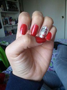 burbery nails design #burberynails #rednails