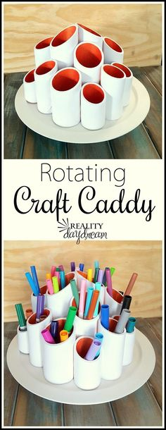 Rotating Craft Caddy DIY Project step by step Tutorial ... using PVC pipes and a lazy susan! You can easily do it yourself for craft supplies or kids art supplies! {Reality Daydream}