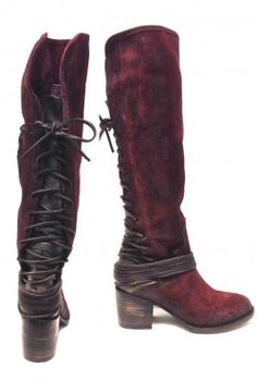 Freebird by Steven – Lace Up Shaft Hand Distressed Coal Knee High Leather Boots In Wine Suede