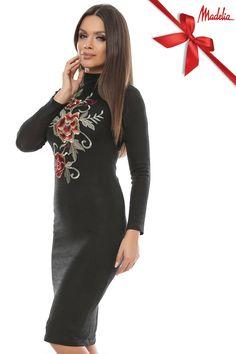Rochie midi din pulover | Madelia Fashion - Magazin online haine și rochii de damă Shirt Dress, T Shirt, Velvet, Sweaters, Collection, Dresses, Fashion, Supreme T Shirt, Vestidos