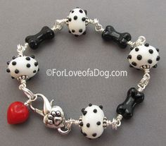 Dalmatian Polka Dot Dog Bone Bracelet Red Heart at For Love of a Dog