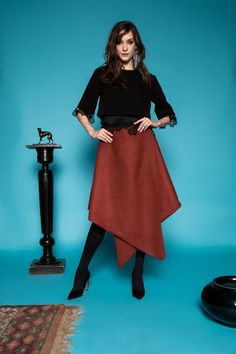 Papier skirt by Celeni Wool Skirts, Two Pieces, Black Tops, Brown, Sleeves, Fashion, Home, Moda, Fashion Styles