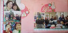Double page Christmas layout with Basic Gray paper, Pinkfresh Let it Snow Chipboard and a flair for buttons flair