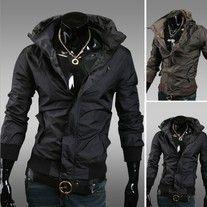 Stylish Turn-Down Collar Zipper Design Solid Color Long Sleeves Polyester Coat For Men Mens Lightweight Jacket, Sports Jacket, Sammy Dress, Windbreaker Jacket, Slim Fit, Zip Ups, Winter Jackets, Leather Jacket, Casual