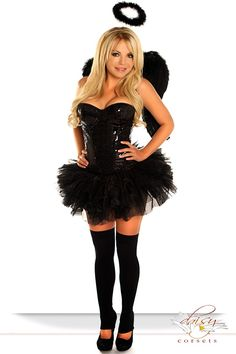Costume includes sequin underwire corset with side zipper closure, lace-up back for cinching and matching thong; Pettiskirt; Wings; Halo.