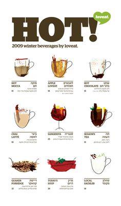 Love the hand-illustrated menu drinks on this menu!