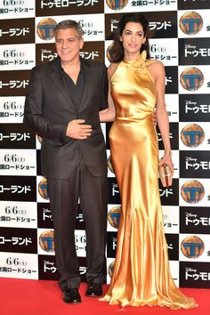 Amal and George Clooney attend the Tokyo premiere of Tomorrowland.