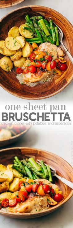 Sheet Pan Bruschetta Chicken with Potatoes and Asparagus Recipe | Little Spice Jar