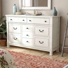 Lark Manor Parfondeval 9 Drawer Dresser with Mirror Vintage Bedroom Furniture, Bedroom Vintage, 9 Drawer Dresser, Dresser With Mirror, Nightstand, Online Furniture, Home Furniture, Kitchen Furniture, Furniture Dolly