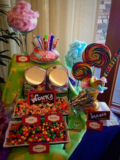 Candy Table #coloradospringsevents #gardenofthegodsgourmetcatering #candytable #willywonkaevent #catering