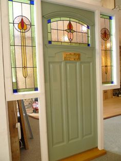 Front Door Stained Glass Stained Glass Front Door Complete With Frame Front Door Stained Glass Panels Front Door Side Windows, Front Door Colors, Glass Front Door, Windows And Doors, Glass Doors, Front Entry, Art Deco, Art Nouveau, 1930s Doors