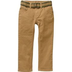 Faded Glory Boys' Belted Twill Chino Pants, Size: 14, Beige