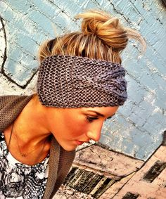 Grey Cable Knitted Headband Ear Warmer | Coming Soon