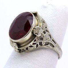 Vintage 14K Red Stone Filigree Ring from asemetals on Ruby Lane