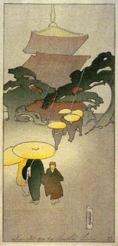 """""""Temple in Rain,"""" by Bertha Lum, 1916. Bertha Boynton Lum (1869 – 1954), an American artist known for helping to make Japanese and Chinese woodblock prints known outside of Asia."""