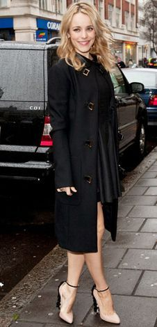 b16901a98 Rachel McAdams (The Row's military coat & Brian Atwood ruffled heels)  Brian Atwood
