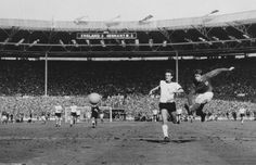 """""""They think it's all over... well it is now!"""" Geoff Hurst scores his 3rd and England's 4th goal in the World Cup Final 1966"""