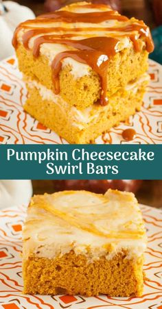 Welcome fall with these Pumpkin Cheesecake Swirl Bars! Super moist pumpkin cake swirled with creamy cheesecake, and topped with caramel sauce. Pumpkin Cheesecake Bars, Pumpkin Pie Bars, Pumpkin Spice Cake, Pumpkin Dessert, Great Desserts, Fall Desserts, Crockpot Recipes, Cooking Recipes, Cake Recipes